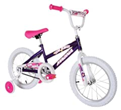 "The Magna Starburst Girls BMX Street/Dirt 16"" Bicycle is a fun way for kids to ride around the neighborhood, park, or easy trails. Great for beginning riders, it also includes a rear coaster brake and adjustable/removable training wheels to p..."