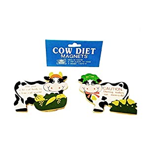 Cow Diet Magnets 2pc Comical Wooden Refrigerator Ornament Magnet Funny Motivational Gag Gift 41rA61gmxvL