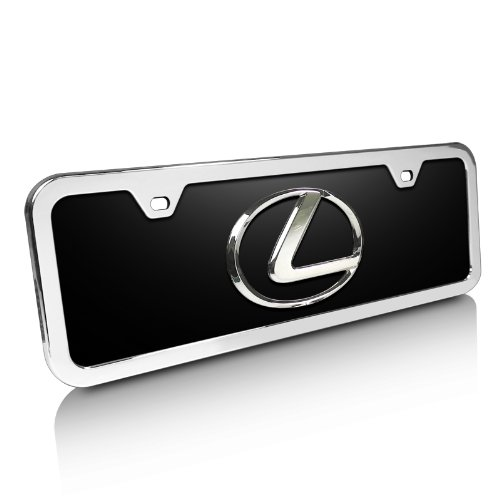 Lexus 3d Logo Black Acrylic Half-size License Plate with Chrome Frame Kit - Lexus License Plate