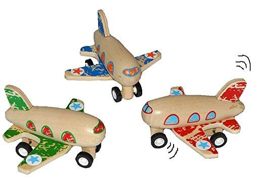 Unbekannt 1 Stk. Aufziehflugzeug aus Holz - Flugzeug zum Aufziehen und Fahren / mit Rückzug - Holzflugzeug Aufziehtiere Aufziehauto Flugzeuge Kinder-Land