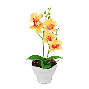 MARJON FlowersArtificial Flowers Fake Plants Silk Plastic Artificial Simulation Butterfly Orchids (Yellow) 76