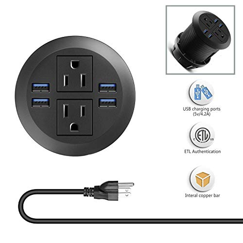 Desk Power Grommet Outlet with USB, Recessed Power Strip Receptacle Outlet, Plug-in 2 Plug Connect 6.5 ft Extension Cord Suitable Furniture Conference Room Office Kitchen Table
