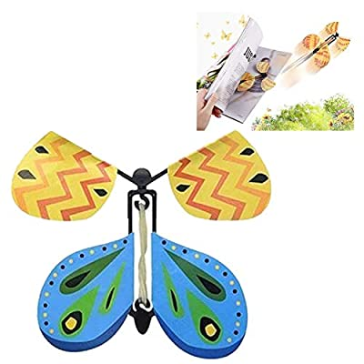 Creative Magic Props Flying Butterflies, Fun and Easy to Use for People of All Ages, Make a Lovely Bookmark While Flying (Yellow) : Office Products