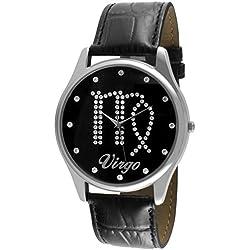 Crystal Studded Face Zodiac Horoscope Black Leather Silver Watch - Virgo