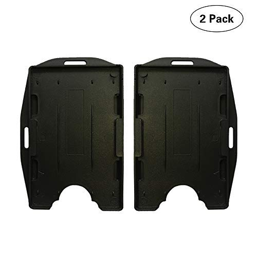 Towntrek ID Badge Card Holder 2 Sided Open Face Hard Rigid Plastic Black Color Vertical or Horizontal Direction 2 Pack