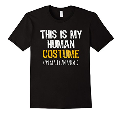 Costume Male Angel (Mens This Is My Human Costume Angel Halloween Funny T-shirt Medium)