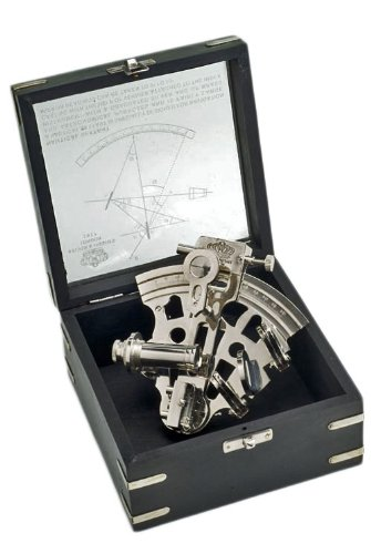5'' Brass Sextant with Nickel Finish Nautical Tropical Home Decor by Nautical Tropical Imports