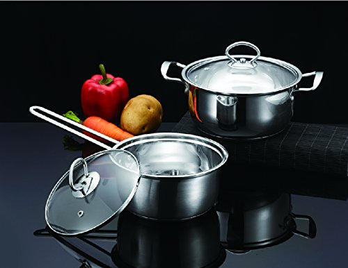 Small Stainless Steel Pot Set - Tri-Ply Stainless Steel Cookware Set With Tempered Glass Lid 4 Piece (1-Quart Sauce Pan And 2-Quart Stock Pot)