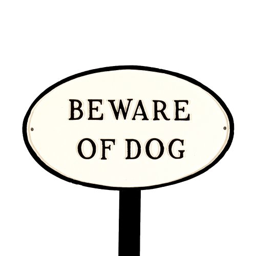 Montague Metal Products SP-5S-WB-LS Standard White and Black Beware of Dog Oval Statement Plaque with 23-Inch Lawn Stake