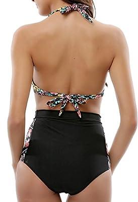 LOVSY Women's Floral Print Halter High Waisted Bikini Sets 2 Piece Swimsuits Bathing Suits