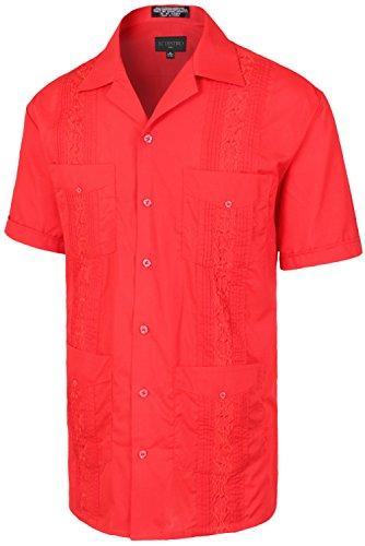 Guayabera Classic - Men's Premium Classic Embroidered Guayabera Short Sleeve RED Shirt L