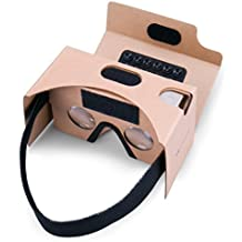 Google Cardboard, Splaks 3D VR Virtual Reality Glasses V2 with Sucker Head Strap Forehead Pad Nose Pad and Big Lens for Android and Apple Device Up to 6 Inch Easy Setup DIY Kit-Brown