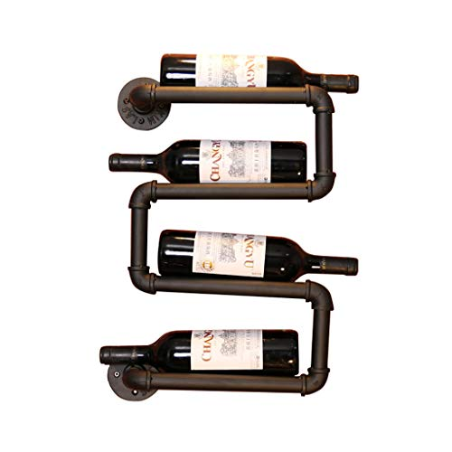 (Wall Mounted Metal Wine Rack,Industrial Retro Water pipe Wine rack Wall Hanging Display stand/Shelf Decorative wall hangings for Kitchen/Bar/Restaurant)