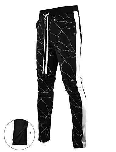 SCREENSHOTBRAND-P11863 Mens Hip Hop Premium Slim Fit Track Pants - Athletic Jogger Bottom with Side Multicolor Taping-Black-XLarge by SCREENSHOT