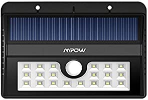 Mpow 1500mAh, 20 Bombillas LED de Lámpara Solar de Pared para Exterior, Impermeable, con Sensor de Movimiento, Ideal para Aire libre, Jartín, Camino, Patio, Garage, Escaleras y Pasillos etc. - color Negro