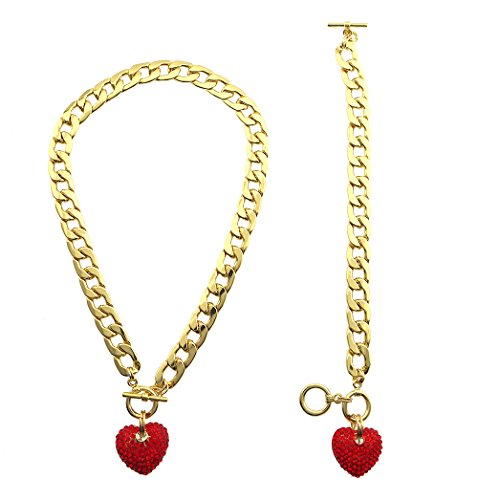 (Crystal Iced Bling Puffy Chunky 3-D Heart Charm Toggle Necklace Matching Bracelet Set)