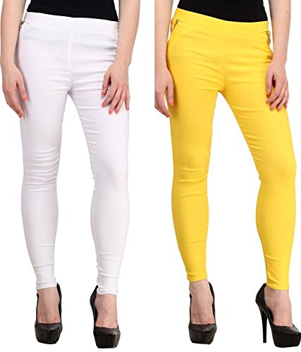 MAGRACE Women's Yellow  amp; White Combo Pack Of 2 Jegging Size:  28 Women's Jeans   Jeggings