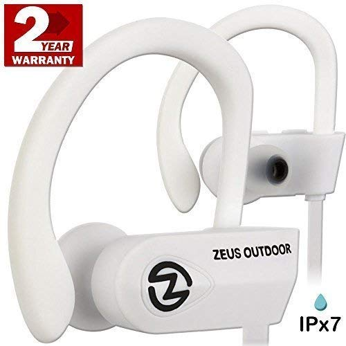 ZEUS Bluetooth Headphones Wireless - Mens Womens Running Headphones - Best Sports Wireless Earbuds Earphones - IPx7 Wireless in-Ear Headphones - Sport Bluetooth Headphones (up to 10 h) (White)