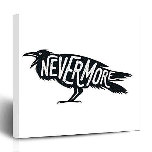 Ahawoso Canvas Print Wall Art 12x12 Inch Crow Raven Word Nevermore Costume Witchcraft Cool Gothic Beak Bavarian Modern Artwork Printing Home Decor Wrapp Gallery Painting