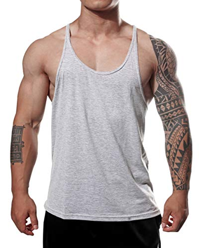 f403c5ac425c2 Manstore Men s Gym Stringer Tank Top Bodybuilding Athletic Workout Muscle  Fitness Vest Grey M
