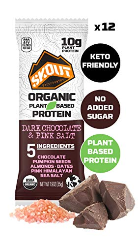 SKOUT BACKCOUNTRY Organic Protein Bars - Dark Chocolate Pink Salt - Keto Friendly - Vegan & Paleo Snacks - Plant Based Protein - Non-GMO - Gluten Free, Dairy Free, Soy Free - No Sugar Added - 12 Count