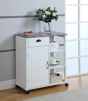 Kings Brand White Finish Wood Marble Vinyl Top Kitchen Storage Cabinet Cart