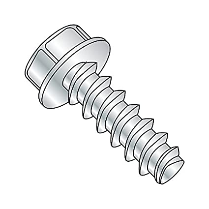 #10-24 Thread Size Zinc Plated Pack of 100 Small Parts 1007RW Hex Washer Head Pack of 100 Steel Thread Rolling Screw for Metal 7//16 Length 7//16 Length