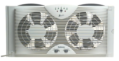 Holmes HAWF2043 Dual Blade Twin Window fan with One Touch Thermostat (Renewed)