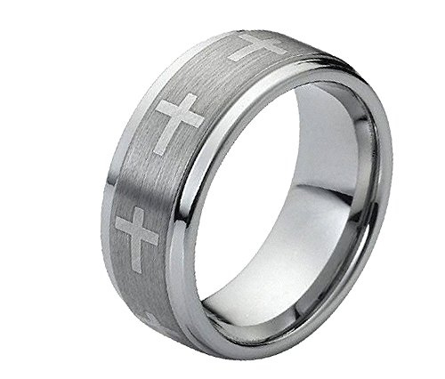 9mm Tungsten Carbide Stepped Edge Brushed Center with Crosses Wedding Band Ring For Men Or (Cross Tungsten Wedding Band)