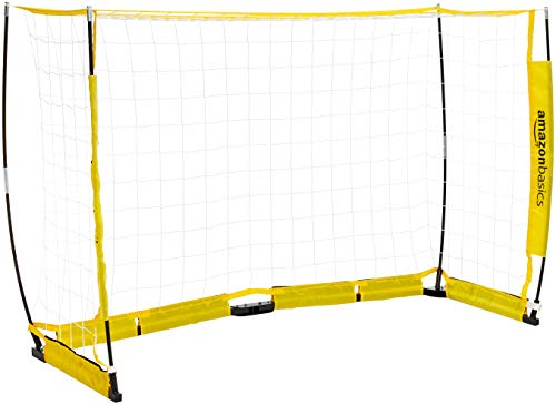 AmazonBasics Portable Easy-Up Soccer Goal - 4 x 8 Feet, Yellow