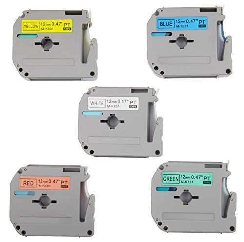 5PK Onirii Compatible M Series Tape Cartridges for P-Touch Combo Set M231 M431 M531 M631 M731 1/2