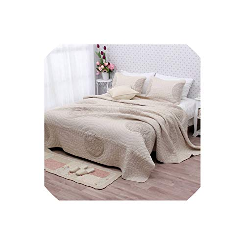 (Khaki Color Pastoral Style Cotton Quilting Quilts King Size Morden Bed Cover Summer Cool Embroidery Bedspread 3Pcs Sets,King,Gray)