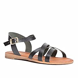 Pierre Cardin Women's Leather Flat Cross Sandal, Black, 5.5 US