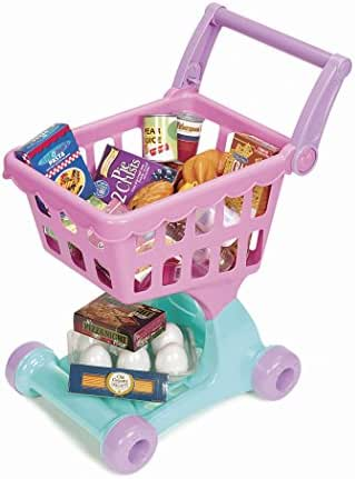 Play Circle by Battat – Shopping Day Grocery Cart – 30Piece Toy Shopping Cart & Pretend Food Playset – Grocery, Kitchen, & Food Toys for Toddlers Ages 3 & Up