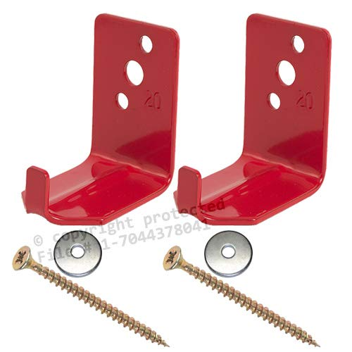 (2 - Universal Fire Extinguisher Wall Hook, Mount, Bracket, Hanger for 15 to 20 Lb. Extinguisher - FREE SCREWS & WASHERS INCLUDED)