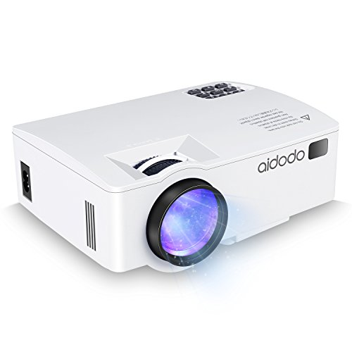 Aidodo A8 Upgraded LED Full HD Mini Projector,1800 Lumens Multimedia Home Theater Video Projector Supporting 1080P – White – Buy one get one HDMI Cable