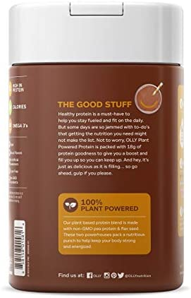 OLLY Plant Powered Protein, Protein Powder, 14.8 oz (12 Servings), Pure Chocolate, 18g Plant Protein, Vegan 2