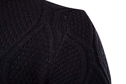 Couleur Col Manches Negro Unie Automne Chic Pull Longues Et Élégant Hommes En Hiver Tricot Chaud Mieuid Haut xSaqPOwXB