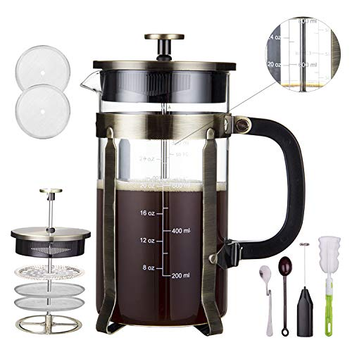 Homost French Press Coffee Maker 34 oz 8 cups, 304 Stainless Steel Double Sides Precise Scale Coffee Press And Tea Maker, Thick Durable Heat Resistant Glass, With Milk Frother & 2 Screens