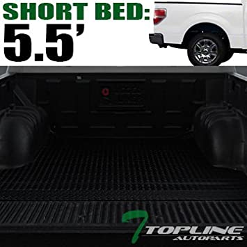 Topline Autopart Black Rubber Diamond Plate Truck Bed Floor Mat Liner For 04-14 Ford F150 8 Feet Long Bed 96