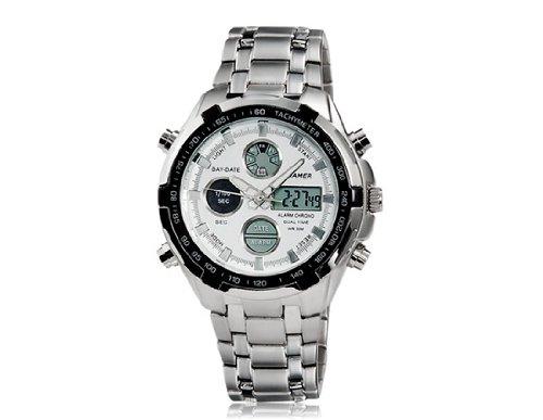 Dial redondo Hombres B205G analógico y reloj digital con alarma, luz de fondo y la