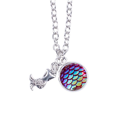 Myhouse Women Girls Colorful Fish Scales Pattern Mermaid Pendant Necklaces for Gifts Charms Findings (Color) ()