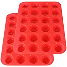 2Packs Silicone Mini Muffin Pan, Silicone Molds for Muffin Tins, Cupcake Baking Pan (Red)