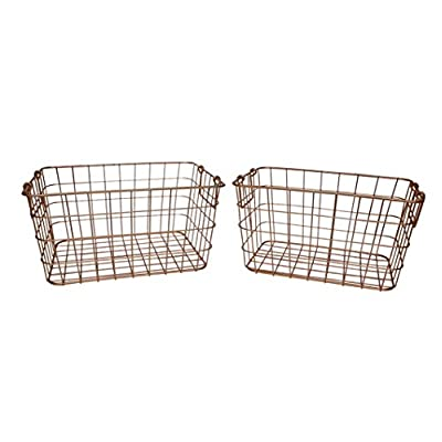 SLPR Wire Storage Shelf Basket (Set of 2, Copper) | Organizer for Laundry Pantry Freezer Cabinet Wardrobe - STORE ANYTHING IN STYLE - Practical as well as decorative, this wire basket set provides exceptional storage for every room in the house. Perfect for the kitchen, pantry, bathroom, laundry room, office or craft room, these wire baskets has multiple purposes and will keep you organized OPENWORK DESIGN OFFERS INSTANT VISIBILITY AND EASY ACCESS - What better way to have everything you need at your fingertips, than to store your belongings in baskets that allow you full visibility. Find recipe ingredients in an instant, gather cleaning supplies, store extra toiletries, etc STURDY AND DURABLE FOR MULTIPLE USES - Whether you store heavy books in your office or mittens and hats in the entryway, these sturdy wire baskets can handle heavy or light contents - living-room-decor, living-room, baskets-storage - 41rACibuykL. SS400  -