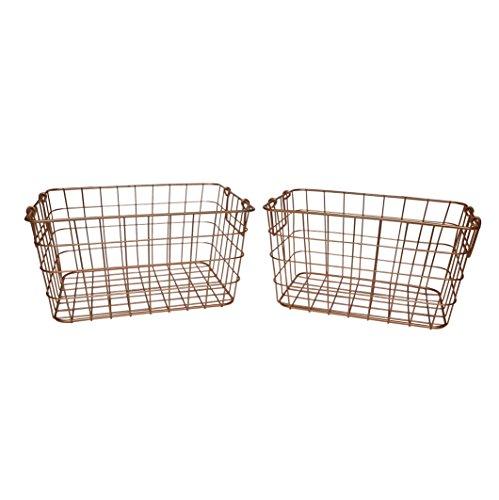 SLPR Wire Storage Shelf Basket (Set of 2, Copper) | Organizer for Laundry Pantry Freezer Cabinet Bathroom Wardrobe