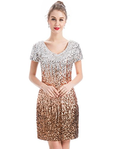 Gold Sequin Mini Dress - MANER Women's Sequin Glitter Short Sleeve Dress Sexy V Neck Mini Party Club Bodycon Gowns(L, Silver/Rose Gold/Brown)