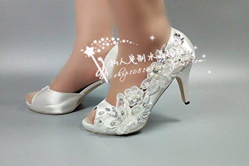Crystal Wedding High 8 Table Toast Waterproof Bride Prom Lace Pearl Shoes VIVIOO Heel Dress Sandals Banquet Silk pEB8wPqpTA