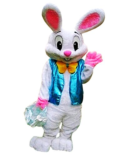 Huiyankej HYKJ Bunny Mascot Costume Easter Bunny Costume Adult (Large) White