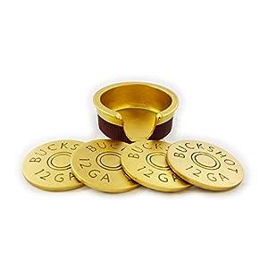 Gold buckshot coasters infront of matching holder