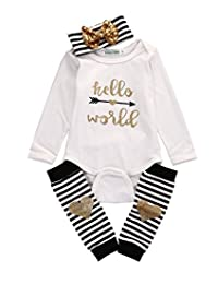"""4PCS Baby """"Hello World"""" Print Romper + Leg Warmers + Hairband Outfit Clothes"""